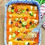 Overhead vertical image of easy enchiladas