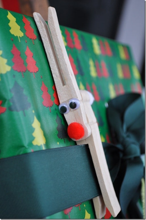 clothespin reindeer on package 2