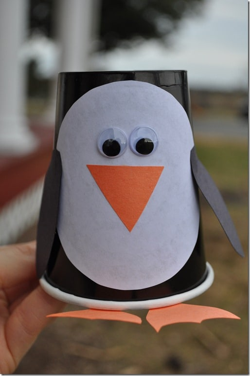 Paper cup penguin craft for Penguin project