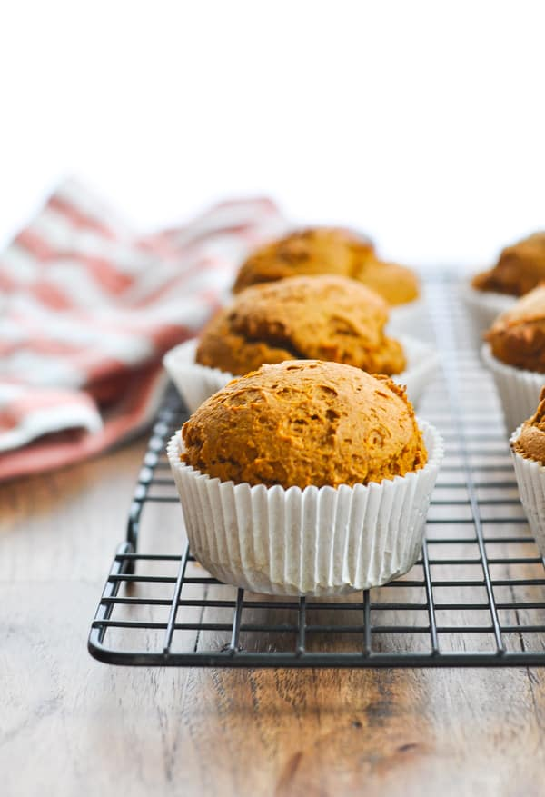 Pumpkin muffin on cooling rack