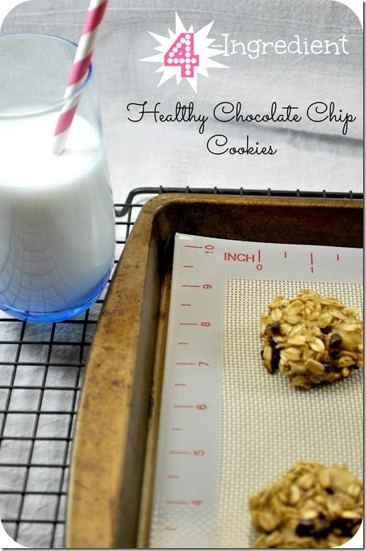 4 Ingredient Healthy Chocolate Chip Cookies