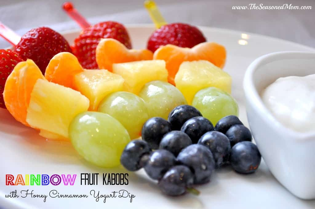 Rainbow Fruit Kabobs with Honey Cinnamon Yogurt Dip