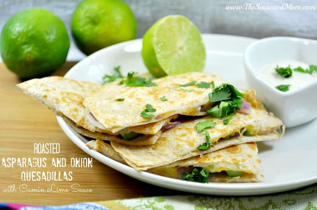 Roasted Asparagus and Onion Quesadillas with Cumin Lime Sauce