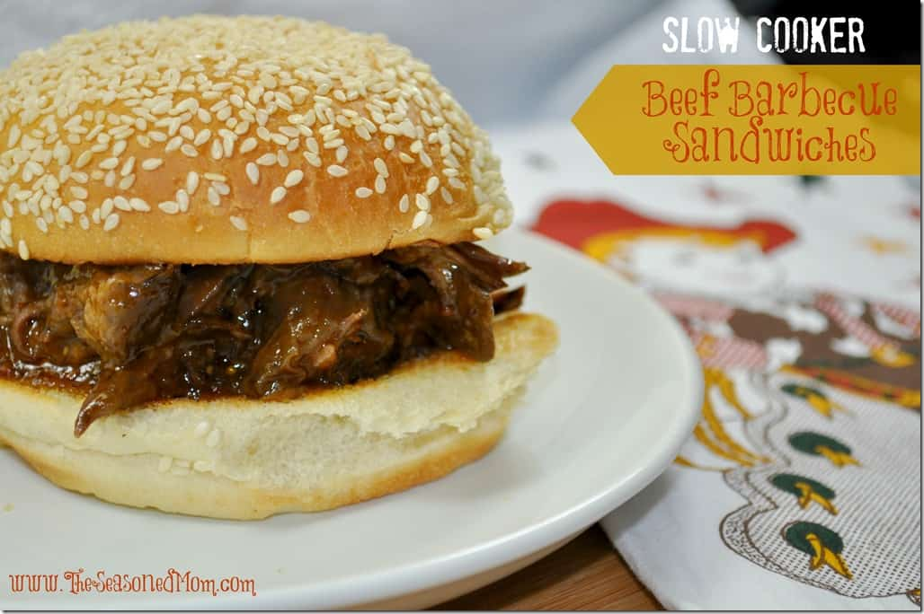Slow Cooker Beef Barbecue Sandwiches - The Seasoned Mom