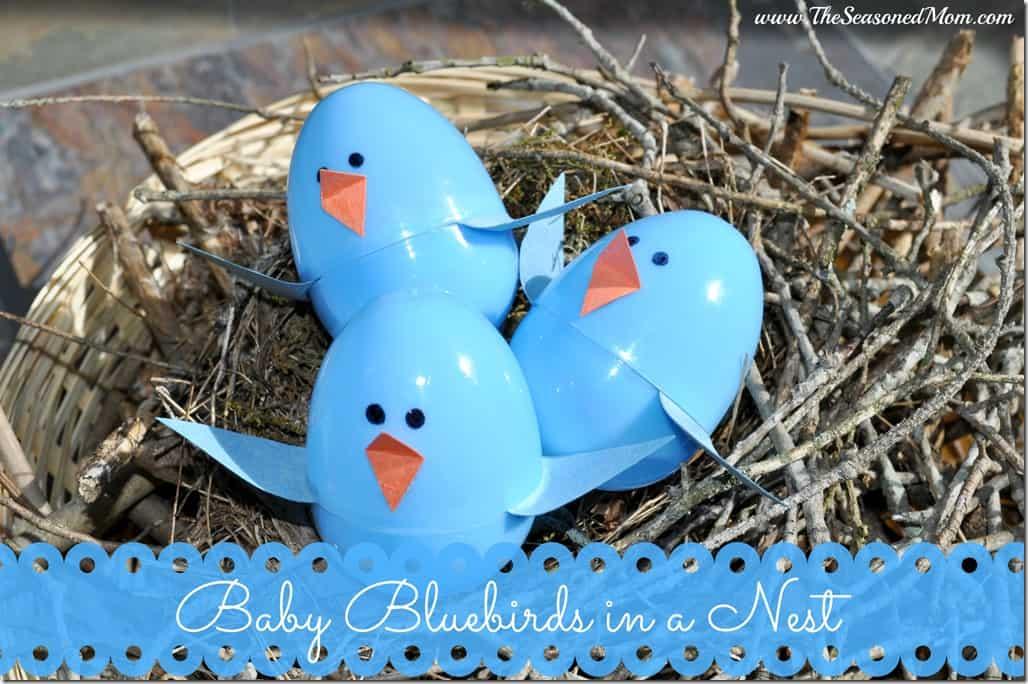 Spring Craft Baby Bluebirds In Nest