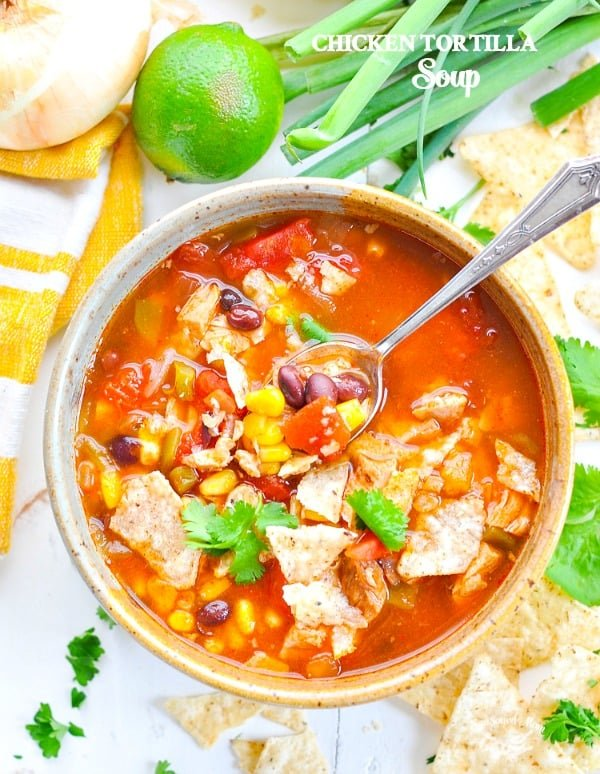 Bowl of Chicken Tortilla Soup that can be made in the slow cooker, pressure cooker or stovetop.