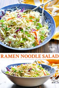 Long collage of Ramen Noodle Salad recipe