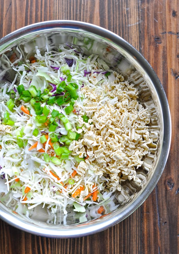 Ramen Noodle Salad in a large metal mixing bowl