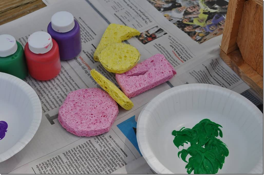 sponges and bowl with paint