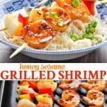 Long collage of Honey Sesame Grilled Shrimp