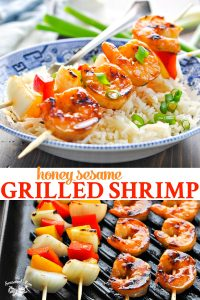 Long collage of Honey Sesame Grilled Shrimp