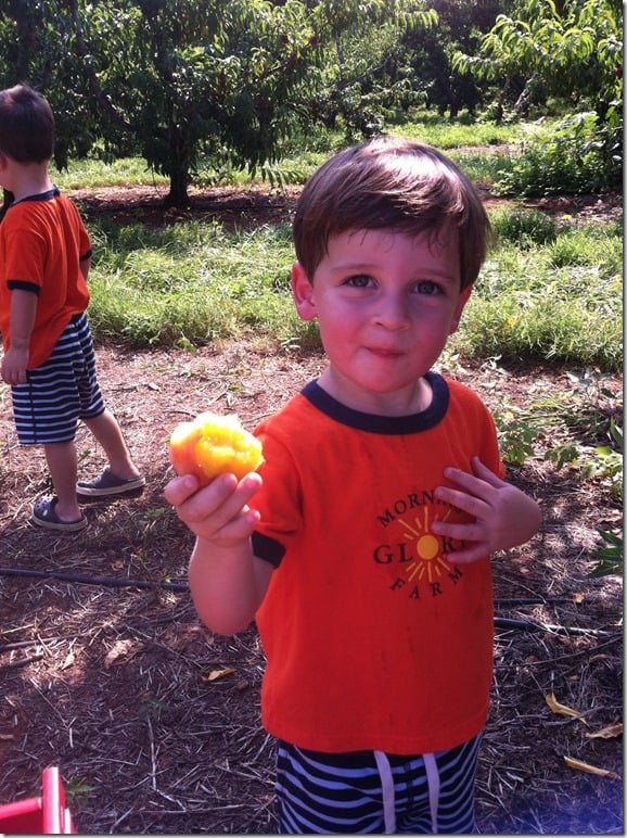 Peach Picking Casey Eating Peach