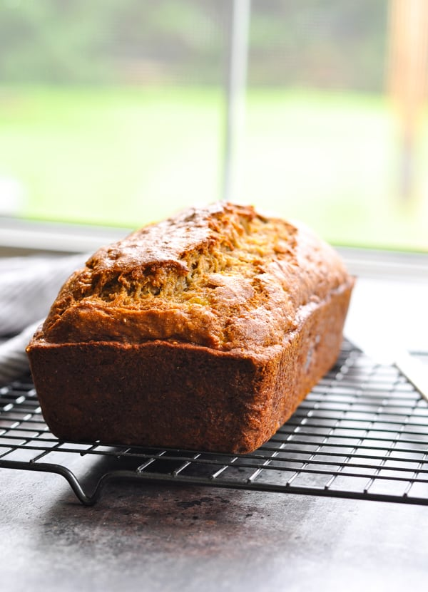 Start the day with this quick and easy moist whole wheat banana bread.