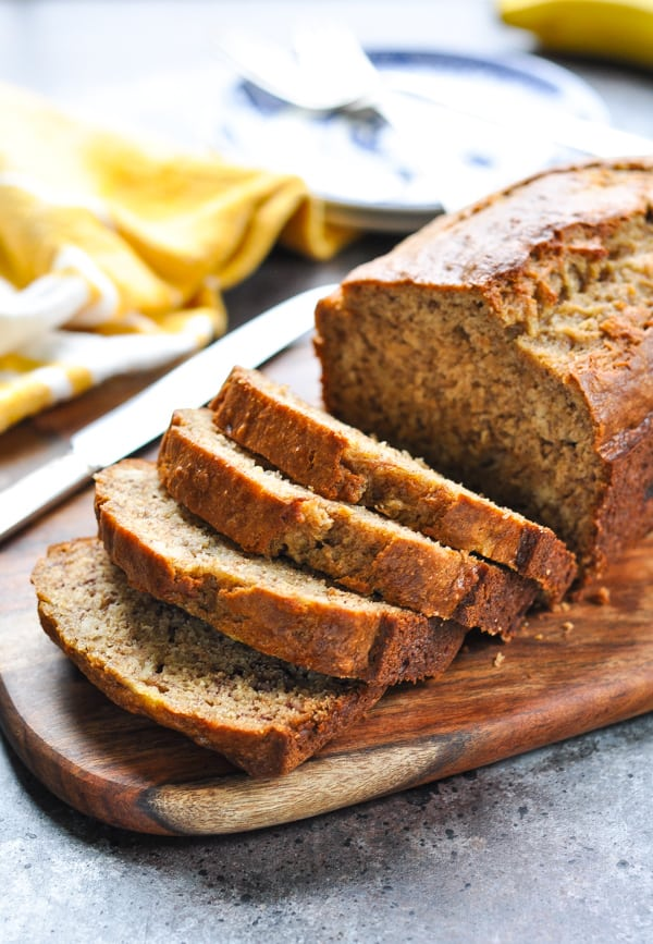 Bake a loaf of One Bowl Whole Wheat Banana Bread for a healthy make ahead breakfast!