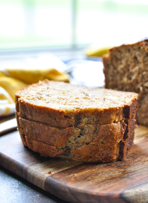 This is truly THE BEST whole wheat banana bread!