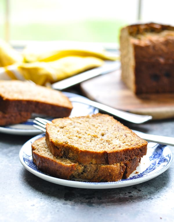 A slice of healthy One Bowl Whole Wheat Banana Bread is the perfect afternoon snack!