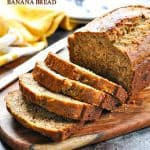 Grab a slice of whole wheat banana bread for an easy and healthy snack idea!