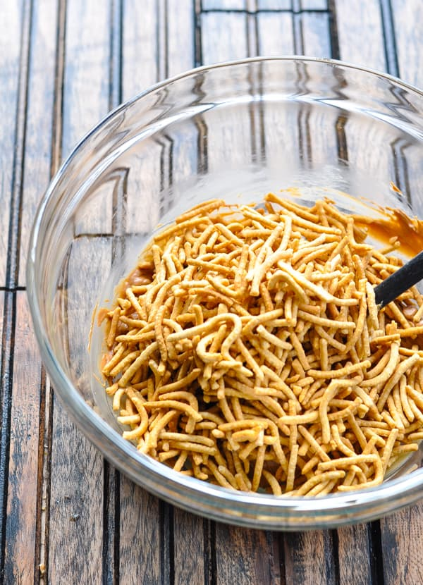 Chow mein noodles in bowl for haystack cookies