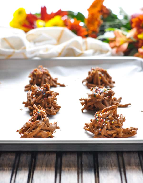 No Bake Haystack Cookies on tray