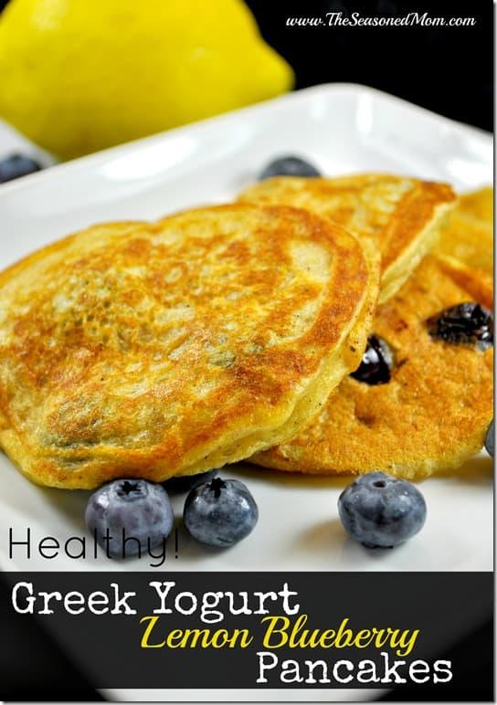 Healthy Greek Yogurt Lemon Blueberry Pancakes - The Seasoned Mom