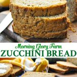 Long collage of Morning Glory Farm Zucchini Bread recipe