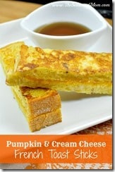 Pumpkin and Cream Cheese French Toast Sticks
