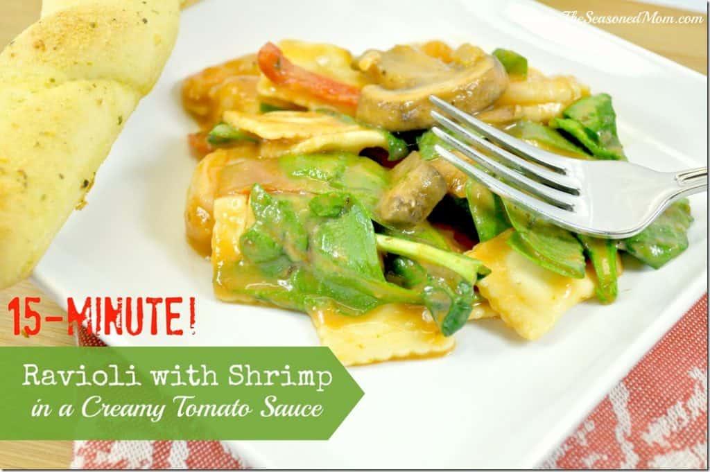 15-Minute Ravioli with Shrimp in a Creamy Tomato Sauce