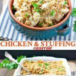 Long collage of Chicken and Stuffing Casserole