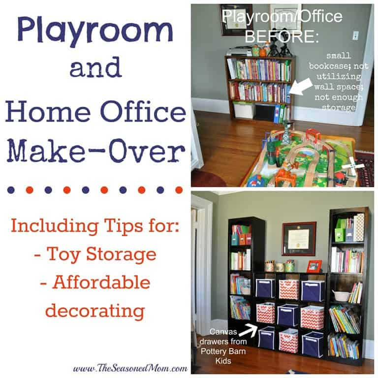 Playroom and home office make over the seasoned mom for Home office playroom design ideas