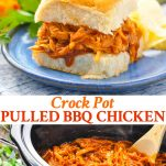 Long collage image of Pulled BBQ Chicken in Crock Pot