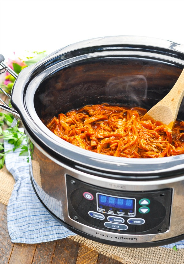 Front shot of Pulled BBQ Chicken in Crock Pot