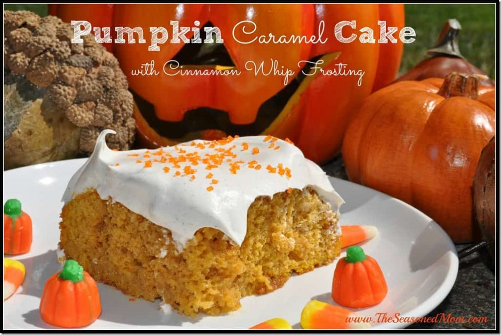 Pumpkin Caramel Cake with Cinnamon Whip Frosting