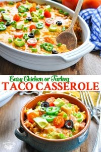 Long collage of easy taco casserole recipe with doritos