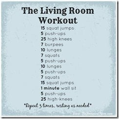 Guest post 30 rep home workout the seasoned mom for Living room workout
