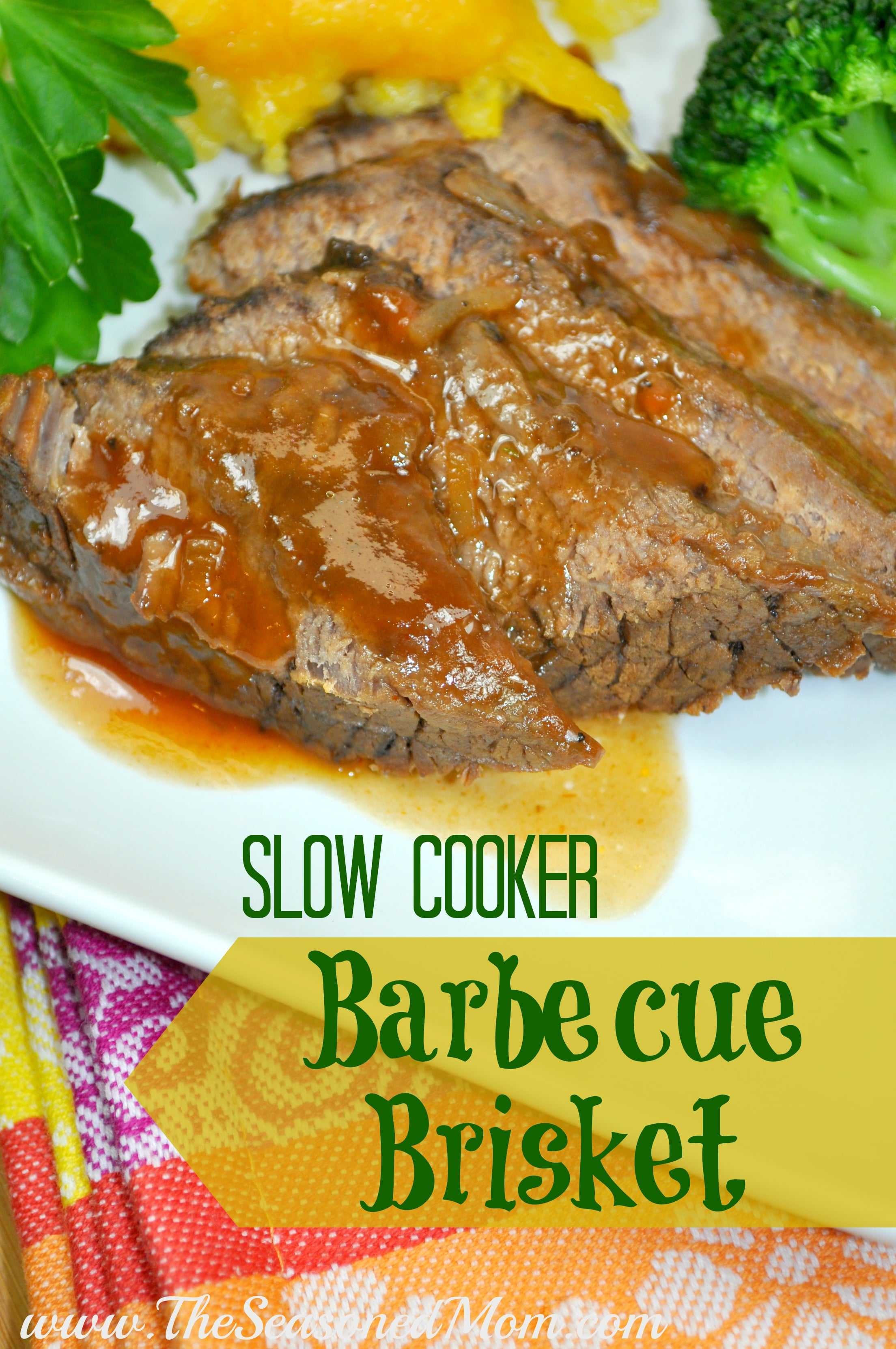 Slow Cooker Barbecue Brisket - The Seasoned Mom