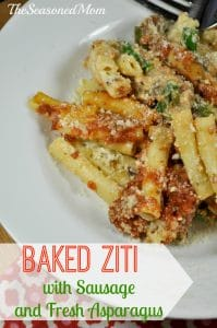 Baked Ziti with Sausage and Fresh Asparagus