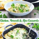 Long vertical collage of Chicken Broccoli and Rice Casserole