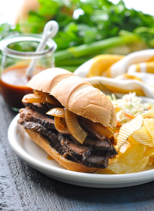 Easy BBQ Brisket recipe served on a sandwich