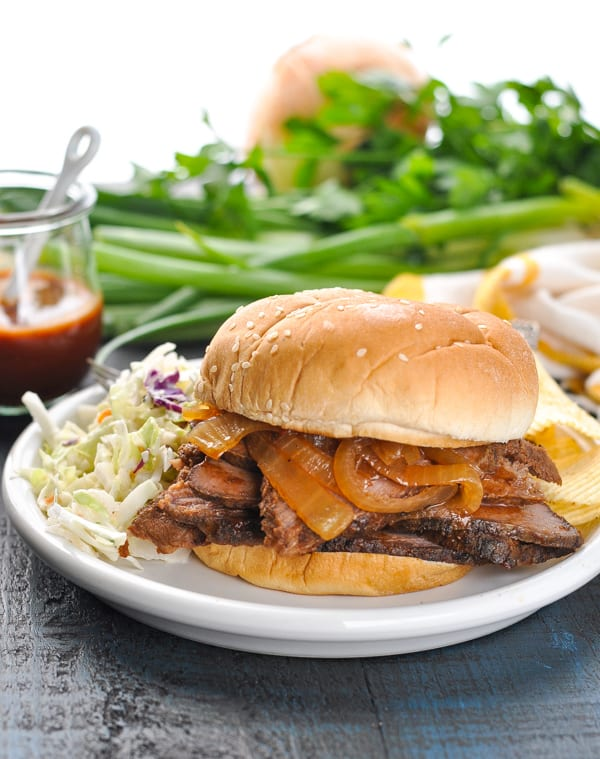 Slow cooker brisket sandwich