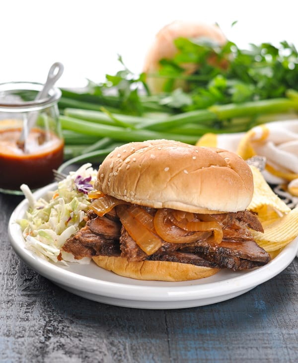 Crock Pot BBQ Brisket Sandwich