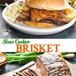 Long collage of Slow Cooker Brisket recipe