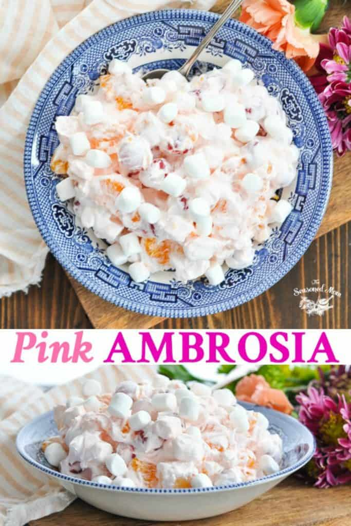 Long collage of Pink Ambrosia Salad