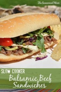 Slow Cooker Balsamic Beef Sandwiches