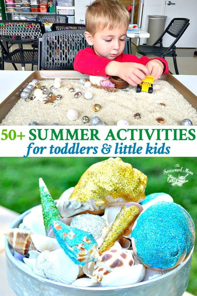 Long collage of summer activities for toddlers and little kids