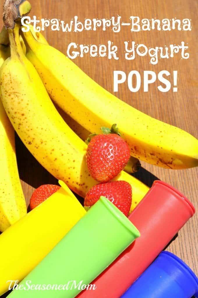 Strawberry Banana Greek Yogurt Pops