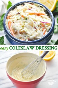 Long collage of easy creamy coleslaw dressing