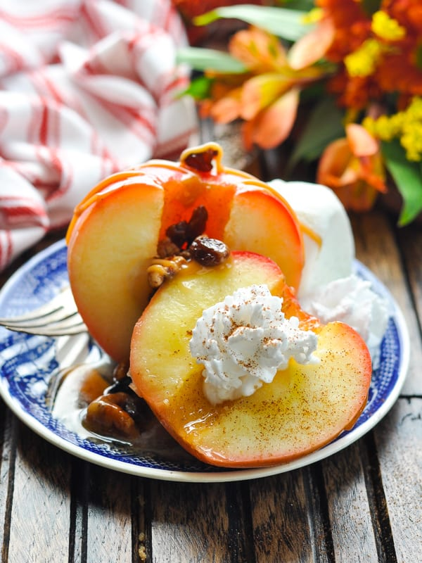 Easy baked apples topped with whipped cream