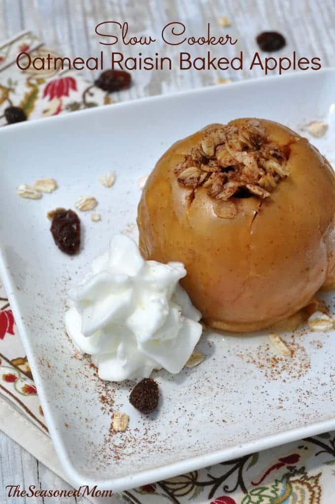 Slow Cooker Oatmeal Raisin Baked Apples