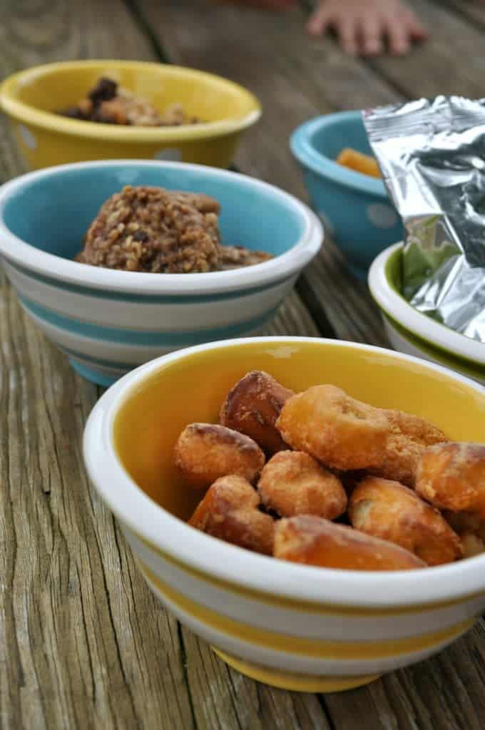Snacks in Bowls with Hand