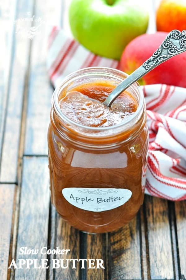 Jar of slow cooker apple butter with text